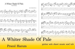 a whiter shade of pale guitar tab and sheet music